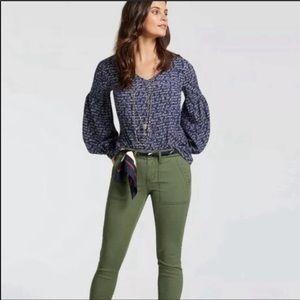 CAbi Te Amo Navy Blue Long-Sleeve Blouse